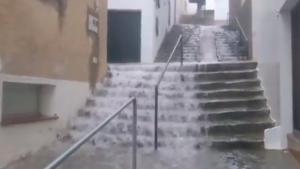 Aiguat que ha causat inundacions al Port de la Selva