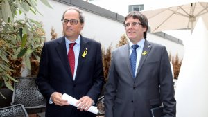 Carles Puigdemont i Quim Torra, en la roda de premsa a Berlín.