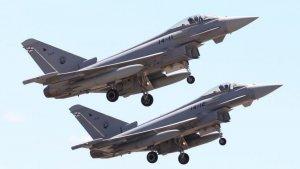 Dos aeronaus Eurofighters de l'Ala 14 de l'Exèrcit de l'Aire, en una imatge d'arxiu.