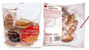 Especificación del lote de croissants con crema de cacao afectado por el error de etiquetado