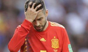 Gerard Piqué durante el partido entre España y Rusia en el Mundial 2018