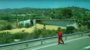 Imatge del camió accidentat a l'N-340 a Alcanar.