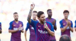 Messi, durant la presentació del Barça al Gamper