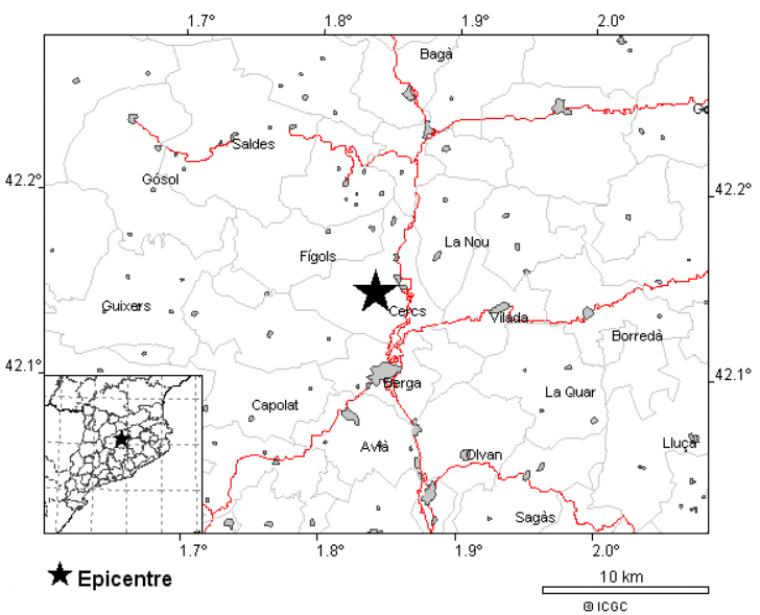 Imatge de la ubicació del terratrèmol