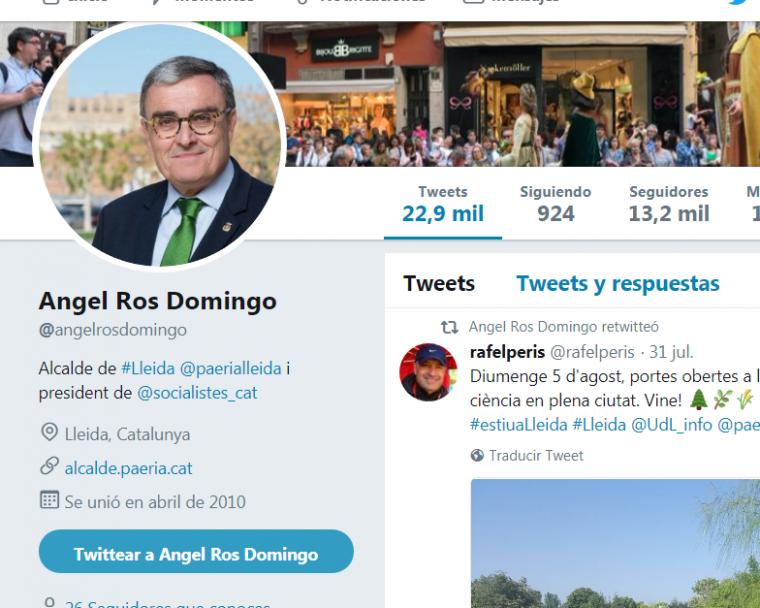 Imatge del perfil de Twitter d'Àngel Ros