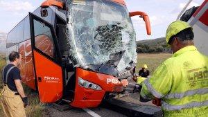 Així ha quedat l'autobús després de l'accident