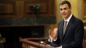 Pedro Sánchez durante su discurso de investidura