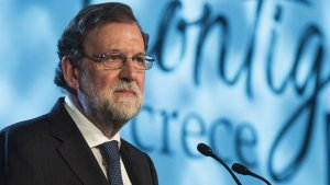 El president espanyol, Mariano Rajoy, a la clausura de la Convenció del PP a Sevilla aquest diumenge.