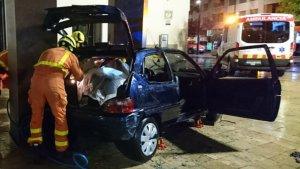 Estat en el que va quedar el vehicle accidentat a Gandia