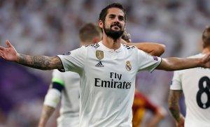 Isco celebra el gol de falta marcat contra la Roma