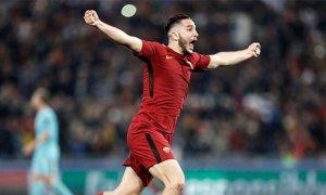 Konstantinos Manolas celebra el gol que va eliminar el Barça de la Champions League 2017/18.