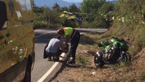 L'accident de moto a la carretera GIV-5201, a Viladrau.