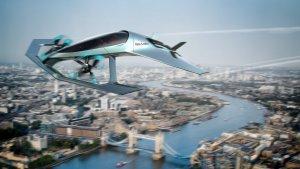 Recreació del cotxe volador d'Aston Martin sobrevolant Londres