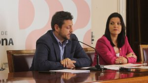 Rubén Viñuales i Sonia Orts (C's), aquest dimarts en roda de premsa.