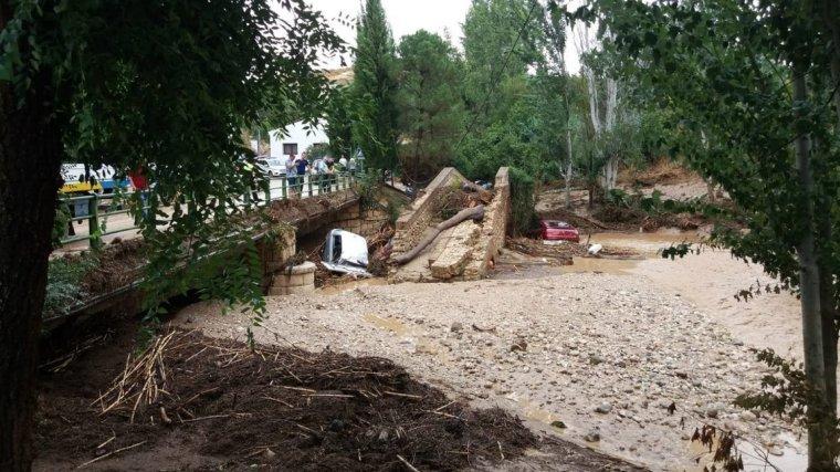 Imagen de uno de los municipios afectados por el desbordamiento del río en Granada