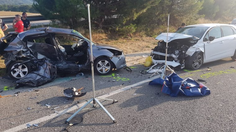 Imatge de l'accident a la C-35, a Llinars del Vallès