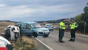 Imagen de la colisión entre dos vehículos en la carretera de Corte de Peleas de Badajoz