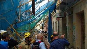 Imatge de la bastida que ha caigut a Pineda de Mar i on, a causa del succés, quatre persones han resultat ferides