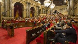 Imatge del Parlament de Catalunya durant la votació d'aquest dijous a la tarda