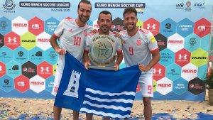 Llorenç Gómez, Adrián Frutos i Eduard Suárez tres torrencs campions amb la selecció espanyola de futbol platja