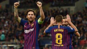 Messi celebra el seu gol contra el Tottenham.
