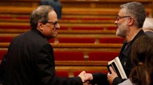 Quim Torra, candidat a la presidència, amb Carles Riera, portaveu de la CUP.