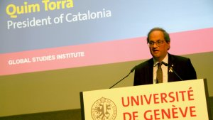 Quim Torra ha demanat mediació internacional per a Catalunya en una conferència a la Universitat de Ginebra