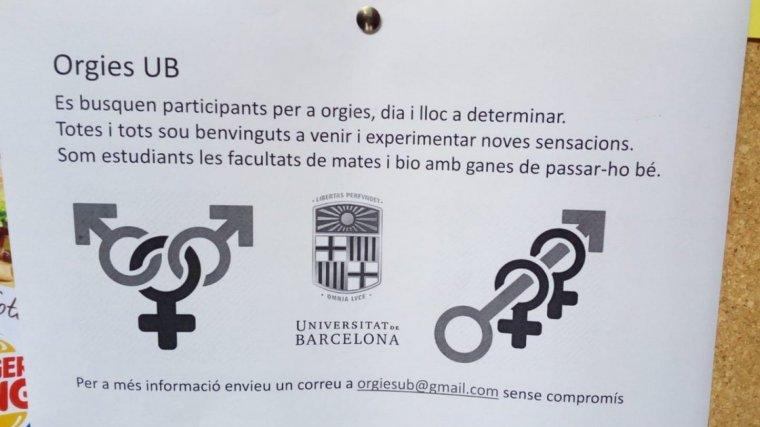 Imatge d'un dels cartells que va aparèixer a la Facultat de Matemà tiques de la UB