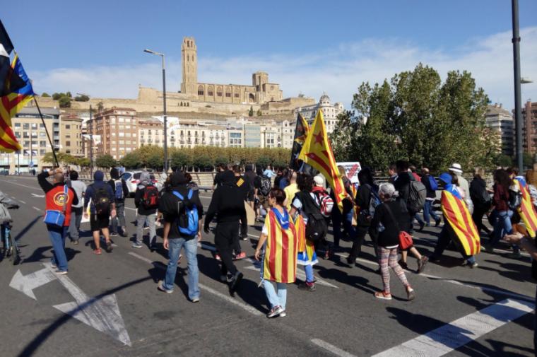 Una marxa entrant a Lleida