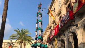 3de10 amb folre i manilles descarregat pels Castellers de Vilafranca a la diada de Vilanova