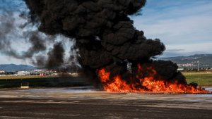 El simulacre d'incendi a l'Aeroport de Reus