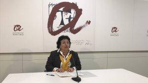 La rectora, Maria José Figueras, a la roda de premsa