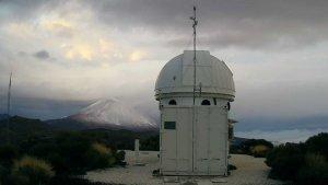 Las primera nieves del Teide este jueves 22 de noviembre, desde la webcam del Instituto Astonómico Canario