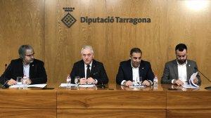 Poblet ha presentat el pressupost amb el vicepresident Masdeu, el diputat de Presidència Joaquim Nin i el diputat d'Hisenda, Lluís Soler.