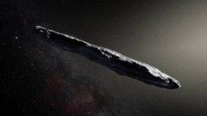 Recreación del asteroide Oumuamua