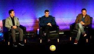 Rubi, Valverde i Eusebio, en l'acte d'homenatge a Cruyff.