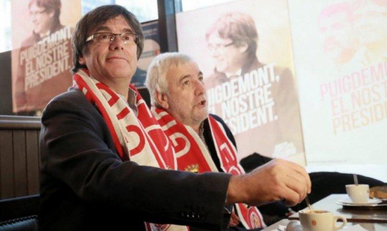 Carles Puigdemon, presenciant el Girona-Getafe