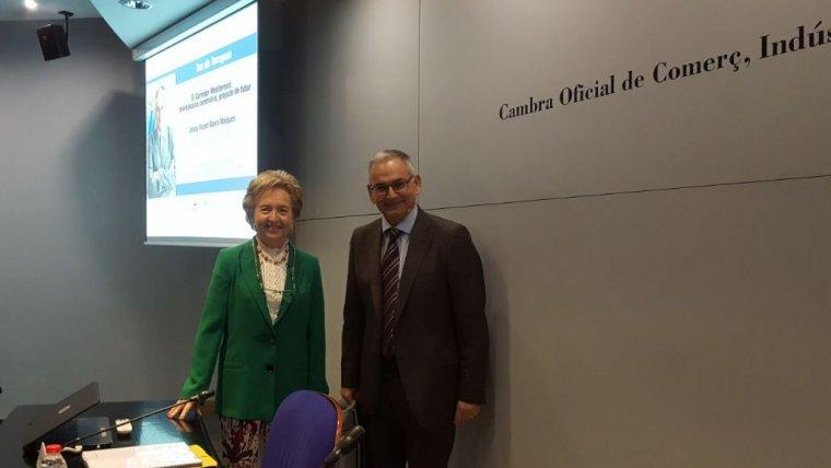Laura Roigé, presidenta d ela cambra de comerç de Tarragona, i Josep Vicent Boira, comissionat del Corredor
