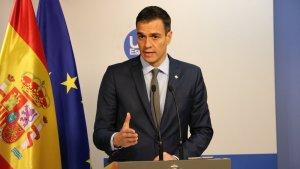 El president del govern espanyol, Pedro Sánchez, en roda de premsa a Brussel·les