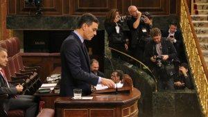 El president Pedro Sánchez durant el seu discurs al Congrés dels Diputats