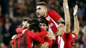 Els jugadors de l'Athletic celebren el seu gol contra el Girona.