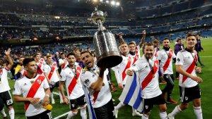 Els jugadors de River Plate celebren la seva quarta Copa Libertadores.