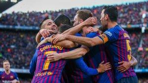 Els jugadors del Barça, celebrant un gol