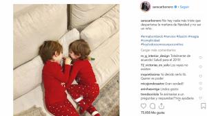 Imagen que Sara Carbonero compartió en su cuenta de Instagram de sus dos hijos, que tiene junto al futbolista Iker Casillas