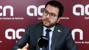 Imatge del vicepresident del Govern, Pere Aragonès, durant l'entrevista a l'ACN