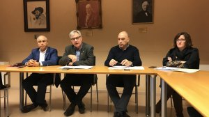 José García (PSC), l'alcalde Rovira i el regidor d'Hisenda Josep Maria Guasch (ERC) i Clara Solivellas (ABG) han presentat la proposta de pressupost pel 2019.