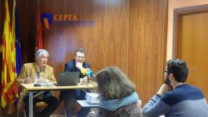 Josep Antoni Belmonte i Juan Gallardo, durant la presentació de la publicació de la CEPTA: 'Observatori Empresarial'
