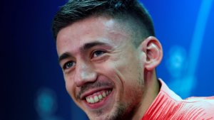Lenglet, durant la roda de premsa prèvia al Barça-Tottenham.