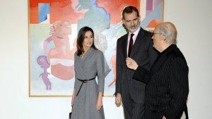Los reyes de España durante la inauguración de la exposición