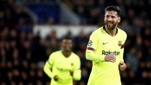 Messi celebra el seu gol contra el PSV.